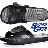 Шлепанцы мужские на липучке Super Gear черные массажная стелька