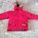 Куртка зимняя фирмы QIQI 3-5 лет с натуральным мехом