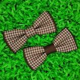 Галстук бабочка коричневая двойная взрослая с принтом клетка