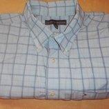 Фирменная рубашка в клеточку карманчик р. l- tommy hilfiger
