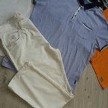 Брюки, штаны мужские Белые светлые летние мужские. размер указан 38 52 - 54