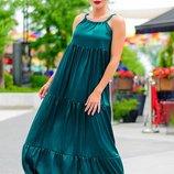 Шелк платье сарафан Кимберли изумруд до 60р.