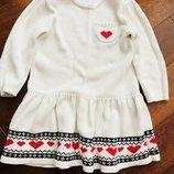 Яркое красивое платье тёплое с длинным рукавом на 3-6 лет