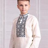 Вышиванка рубашка лён, рост 92-164