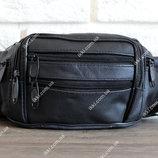 Кожаная мужская сумка - бананка для мужчин черная 2002ч