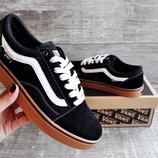 Кеды мужские Vans Old Skool black, коричневая подошва
