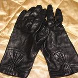 женские перчатки кожа размер 7 черные