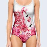 Цельный купальник 3D Flamingos and flowers Большой выбор