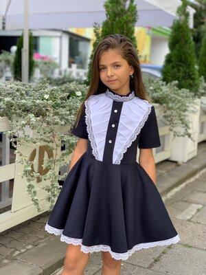 Платье школа черное и синее, школьное платье, школьный сарафан