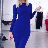 Хит Классическое трикотажное платье-футляр-миди длинный рукав разные цвета от р40 по 52 с вырезом