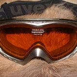 маска детская лыжная Uvex clima zone оригинал Германия Alpina черные буквы
