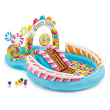 Детский надувной игровой центр с горкой, шариками и фонтаном Intex 57149 Карамель 259х191х130см