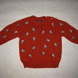 6-12 мес, красивенный хлопковый свитер с собачонками кирпичного цвета