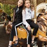 Школьная блуза рубашка, школьная форма для девочки 134 140 146 152 158 164 черный