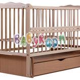 Детская кроватка Дубок Веселка из бука с маятником и ящиком