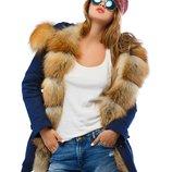 Зимняя парка опушка из натурального меха Gold Fox mnv-16ех синий женская куртка силикон
