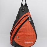 Рюкзак слинг через плечо SwissGear 1007 оранжевый с выходом для наушников