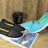 Женские летние мятные и черные мокасины кроссовки для спорта прогулок сетка перфорация