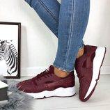 Женские бордовые кроссовки Nike Huarache