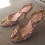 Брендові босоніжки туфлі жіночі New Look 37 Великобританія 24 см босоножки женские із паєтками