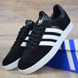 Кроссовки мужские замш Adidas Gazelle black/white