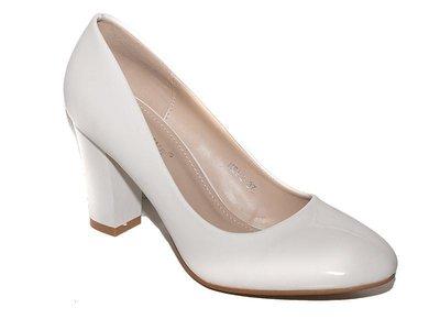 f6e4f6f90f98 Нарядные белые лаковые туфли на широком каблуке 36 37 38 39 40  440 ...
