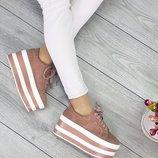 Женские розовые кроссовки слипы на танкетке