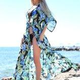 Женская длинная пляжная шифоновая туника в больших размерах 8056-2 Цветы Листья Папоротника .