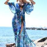 Женская длинная пляжная шифоновая туника в больших размерах 8056-61 Пальма Цветы в расцветках.
