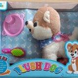 Музыкальная игрушка Хаски на поводке Интерактивная собачка в сумке ходит аналог FurReal Friends