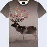 Мужская футболка 3D Deer in flowers Большой выбор