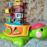 Большая музыкальная черепаха с сенсорными строительными кубиками Fisher-Price Фишер-Прайс