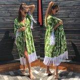 Пляжная накидка с бахрамой, листья