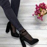 Женские туфли чёрные замшевые