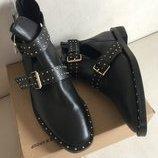 натуральные кожаные ботинки Stradivarius оригинал -распродажная цена