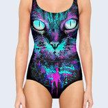 Цельный купальник 3D Colored cat Большой выбор