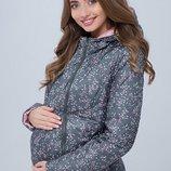 Демисезонная куртка для беременных, пыльный хаки с цветами пудра