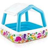 Детский надувной бассейн с навесом Intex 57470 размер 157х157х38см