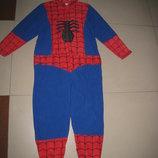 Флисовый взрослый Кигуруми, человечек-пижама,карнавальный костюм Человек Паук XS