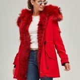Красная зимняя парка с натуральным мехом енота Бесплатная доставка mnv-52 женское пальто HollowSoft