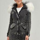 Джинсовая парка с мехом лисы Arctic Бесплатная доставка mnv-31 серый куртка зимняя натуральный мех