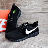 Мужские кроссовки Nike Roshe Run Black замш