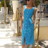 Платье, сарафан, в горошек на лето