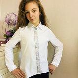 В наличии Стильная школьная блузка с рукавами трансформерами