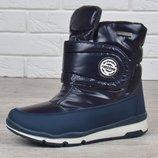 Дутики женские термо синие ботинки зимние на липучке Winter comfort