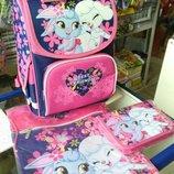 Комплект для девочки. Рюкзак ортопедический, пенал, сумка для сменной обуви
