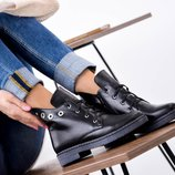 Ботинки Кнопки, зима, натур кожа