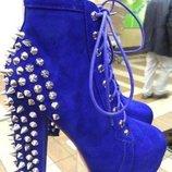 Ботиночки jeffrey campbell синие замша 38р jeffrey campbell