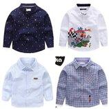 Детская рубашка для мальчика рубашка на мальчика белая синяя в клетку