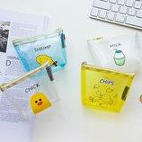 Прозрачный маленький кошелек-косметичка с уточкой, новый